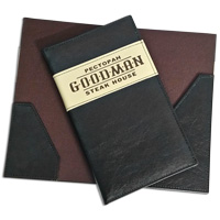 Production of bill holders made of cardboard and leather for restaurants, bars, cafes and clubs